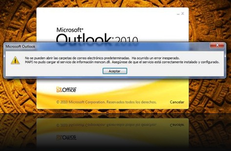 Error al inciar Outlook 2010